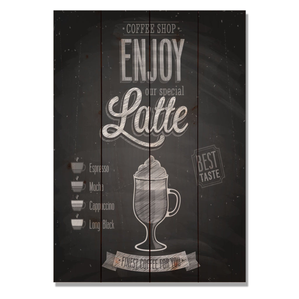 "Enjoy Latte - Classic Pine Wood Art DaydreamHQ Pine Wall Art 14""x20"""