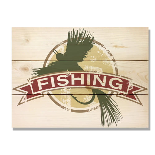 "Fly Fishing - Classic Pine Wood Art DaydreamHQ Pine Wall Art 15""x11"""