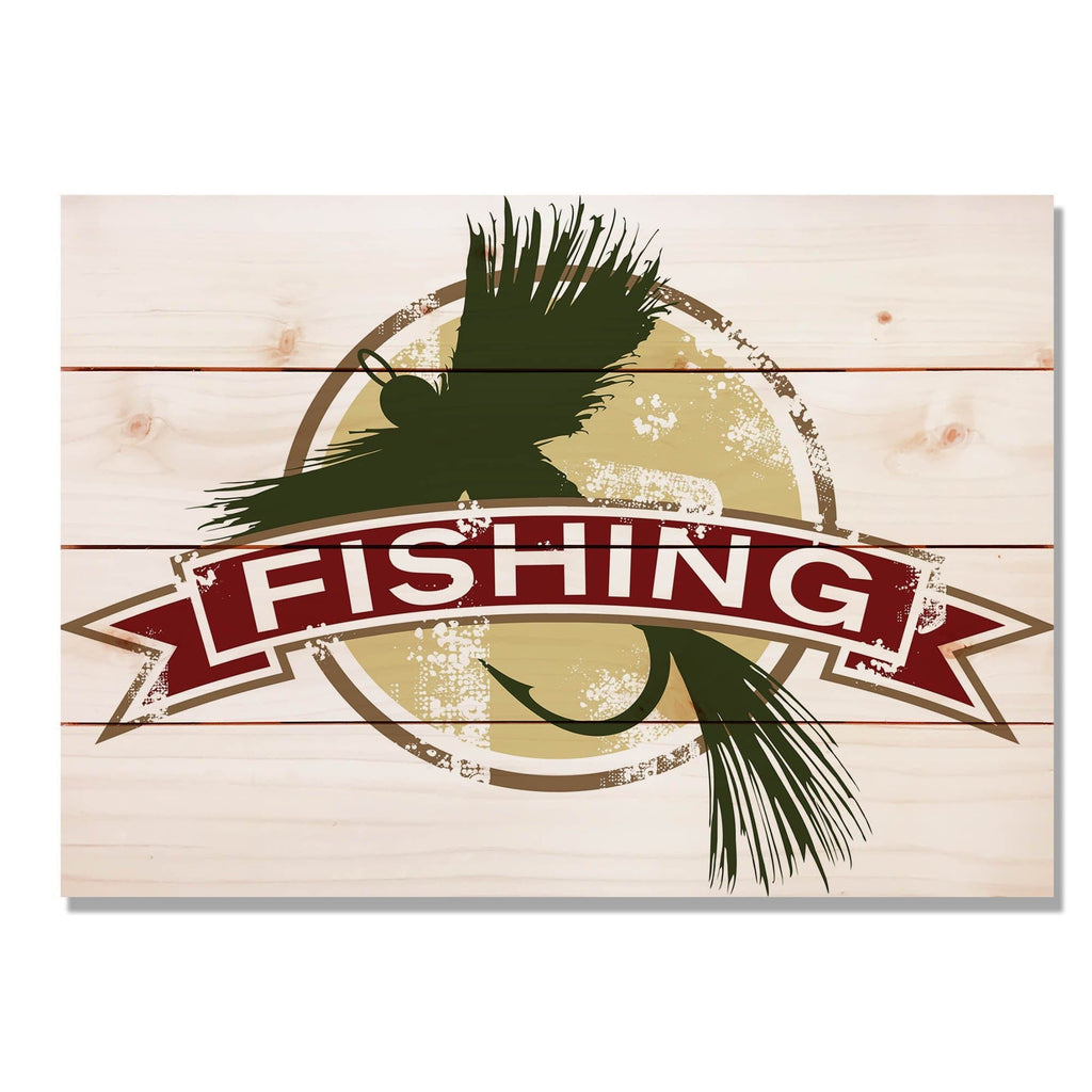 "Fly Fishing - Classic Pine Wood Art DaydreamHQ Pine Wall Art 20""x14"""