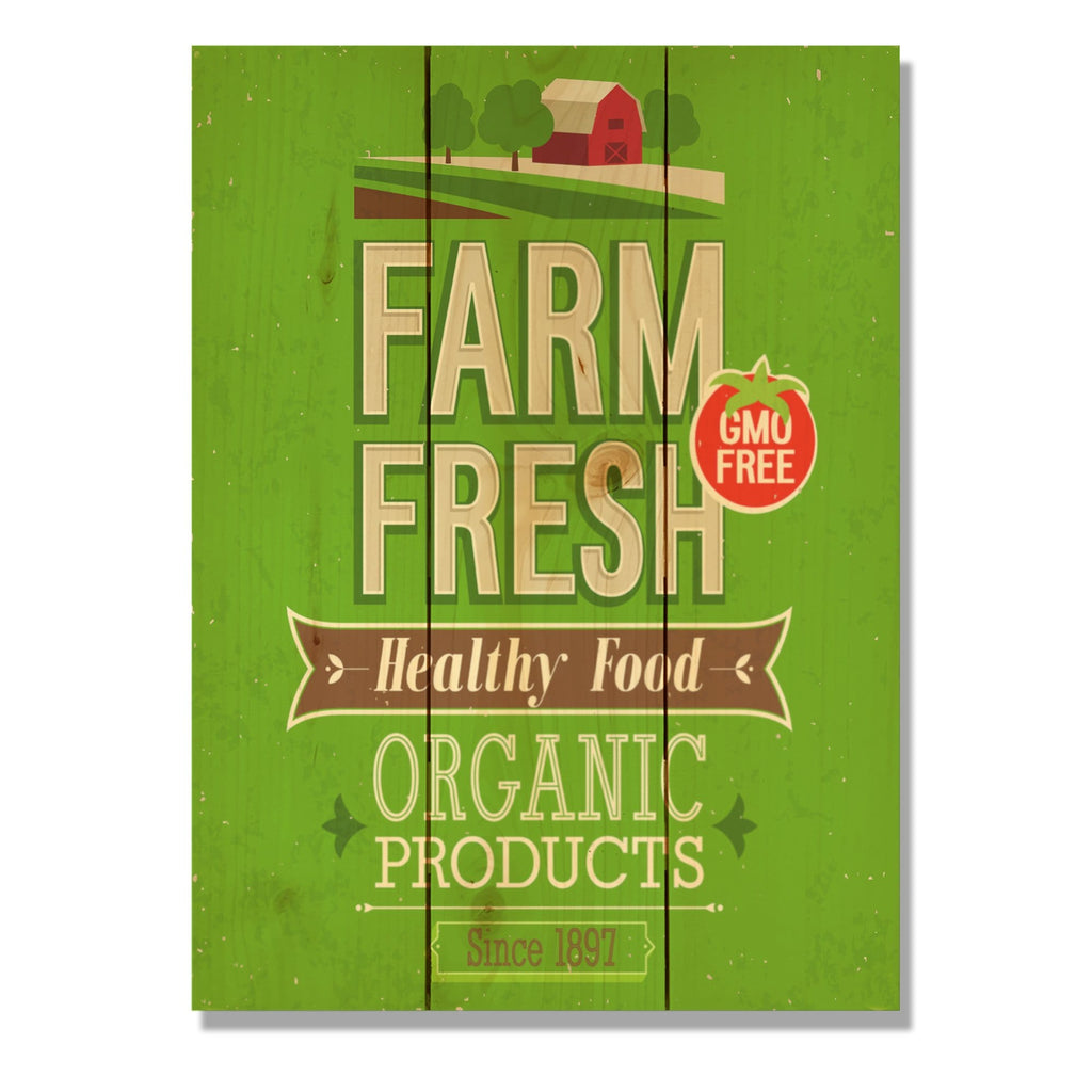 "Farm Fresh - Classic Pine Wood Art DaydreamHQ Pine Wall Art 11""x15"""