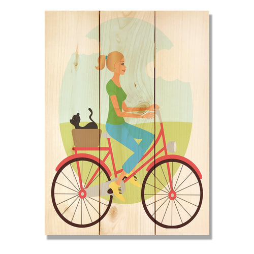 "Red Bike Girl - Classic Pine Wood Art DaydreamHQ Pine Wall Art 11""x15"""