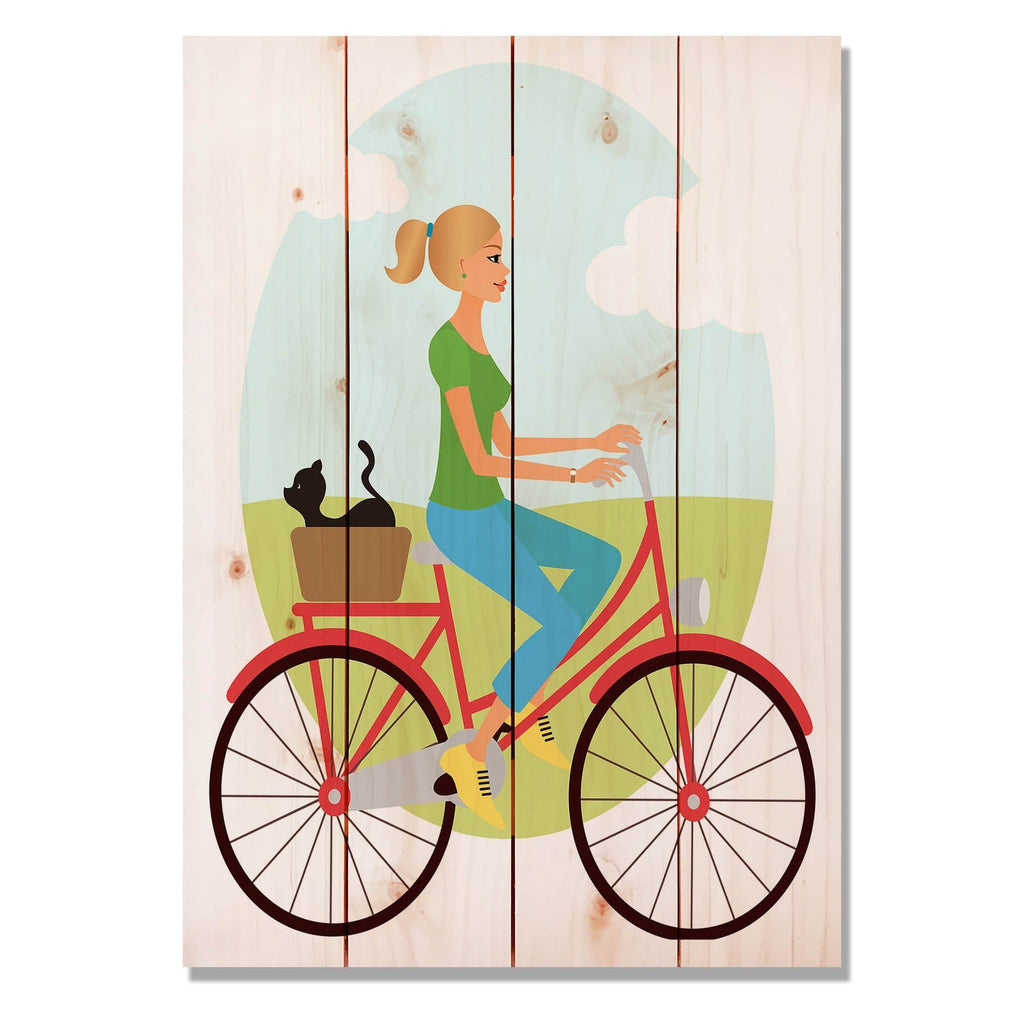 "Red Bike Girl - Classic Pine Wood Art DaydreamHQ Pine Wall Art 14""x20"""