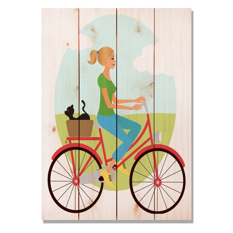 Red Bike Girl - Classic Pine Wood Art
