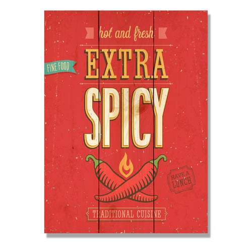 "Extra Spicy - Classic Pine Wood Art DaydreamHQ Pine Wall Art 11""x15"""