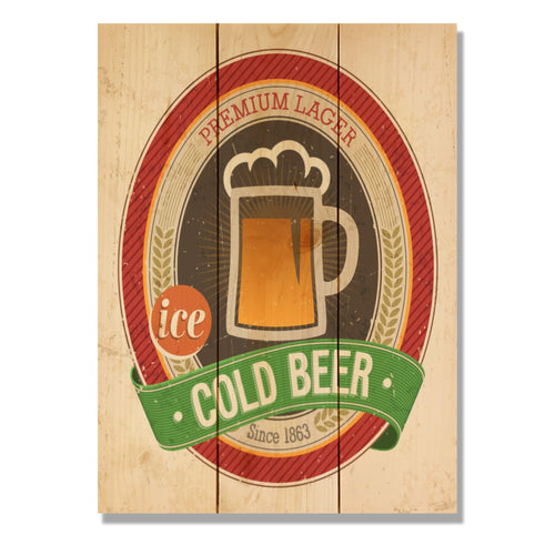 "Cold Beer - Classic Pine Wood Art DaydreamHQ Pine Wall Art 11""x15"""