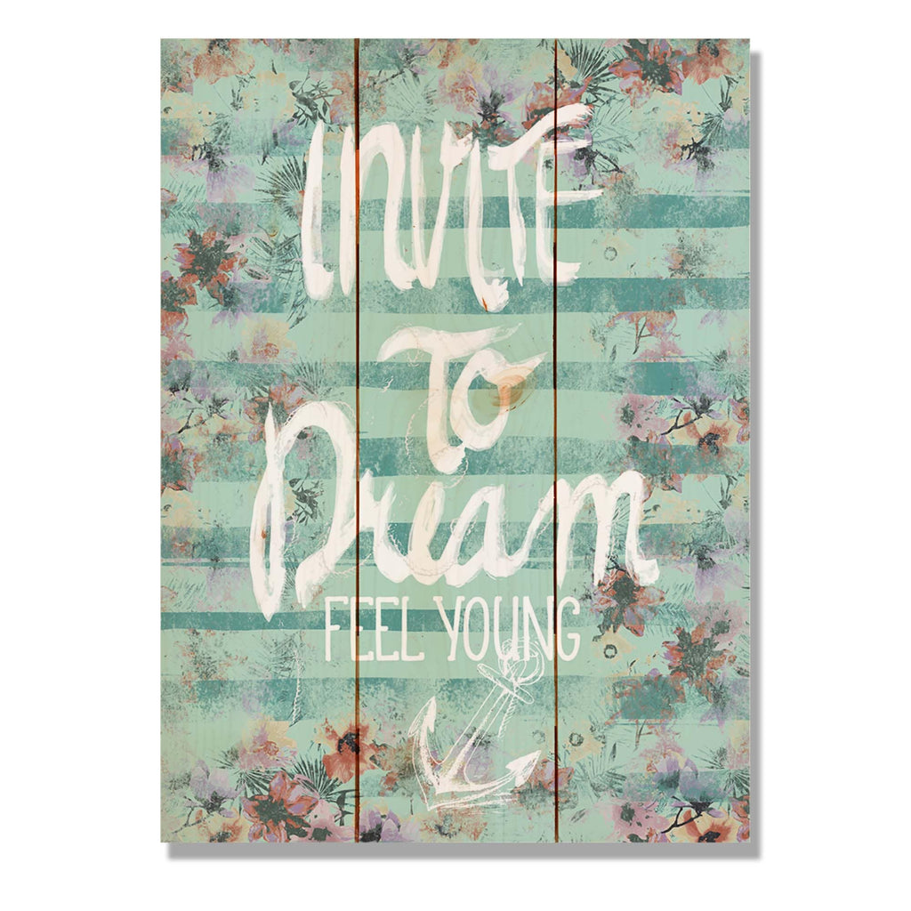 "Invite to Dream - Classic Pine Wood Art Art DaydreamHQ Pine Wall Art 11""x15"""