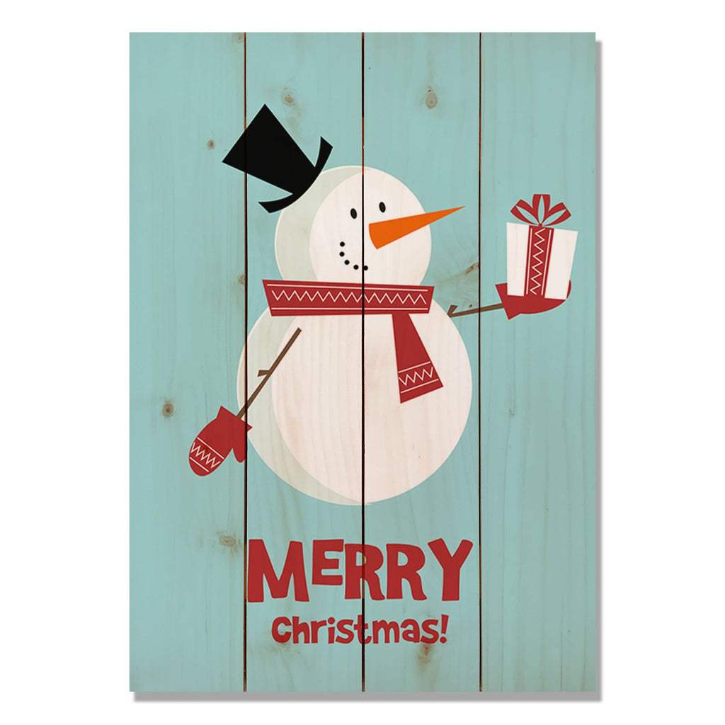 Merry Christmas Snowman - Classic Pine Wood Art DaydreamHQ Pine Wall Art