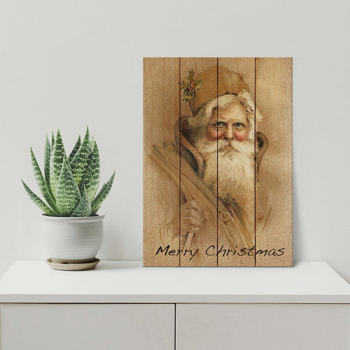 Father Christmas - Classic Santa Wood Wall Art DaydreamHQ Pine Wall Art