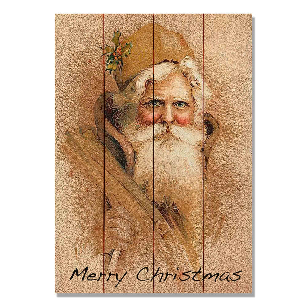 Father Christmas - Classic Pine Wood Art DaydreamHQ Pine Wall Art
