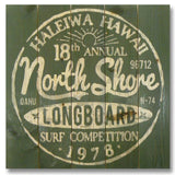 North Shore Longboards 17x17 - Classic Pine Wood Art