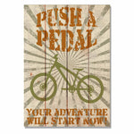 "Push A Pedal - Classic Pine Wood Art DaydreamHQ Pine Wall Art 14""x20"""