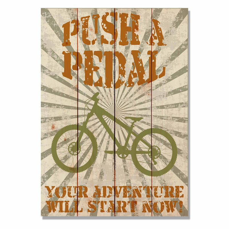 Push A Pedal - Classic Pine Wood Art DaydreamHQ Pine Wall Art