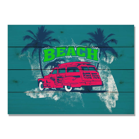 Red Beach Woodie - Classic Pine Wood Art