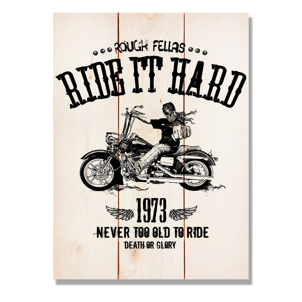 "Ride It Hard on Wood - Motorcycle Wall Decor DaydreamHQ Pine Wall Art 11""x15"""
