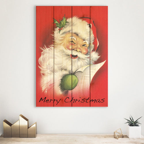 Red Santa - Classic Colorful Christmas Wall Art DaydreamHQ Pine Wall Art