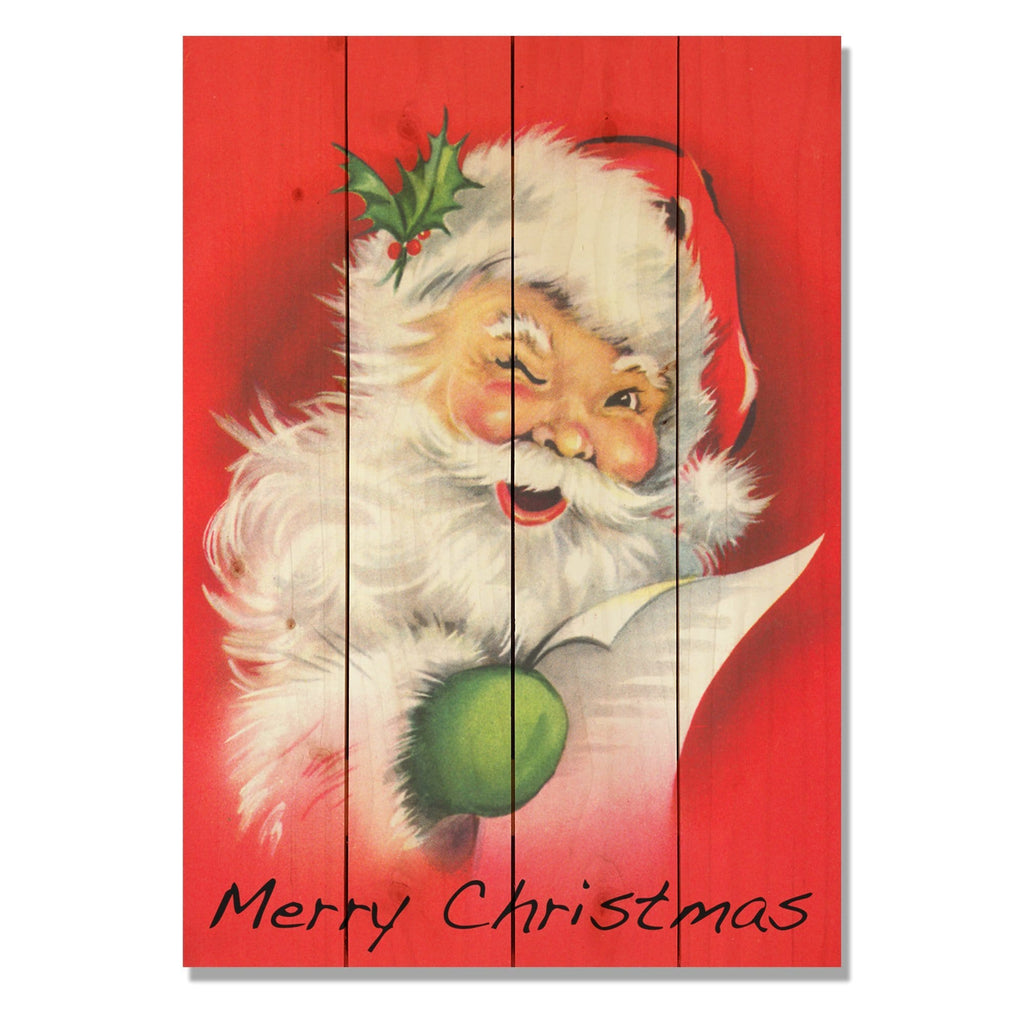 Red Santa - Classic Pine Wood Art DaydreamHQ Pine Wall Art
