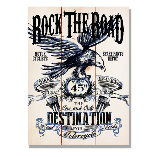 "Rock the Road on Wood - Classic Motorcycle Wall Decor DaydreamHQ Pine Wall Art 11""x15"""