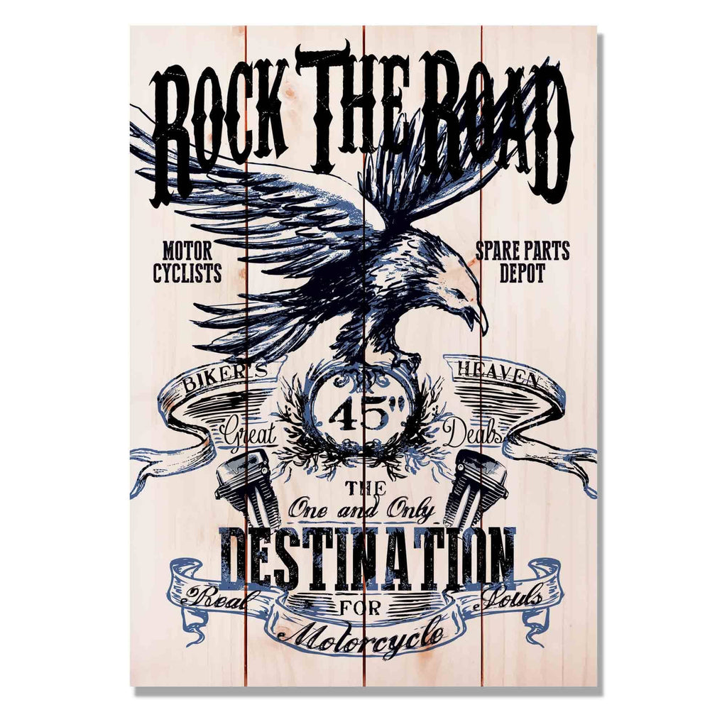 "Rock the Road on Wood - Classic Motorcycle Wall Decor DaydreamHQ Pine Wall Art 14""x20"""