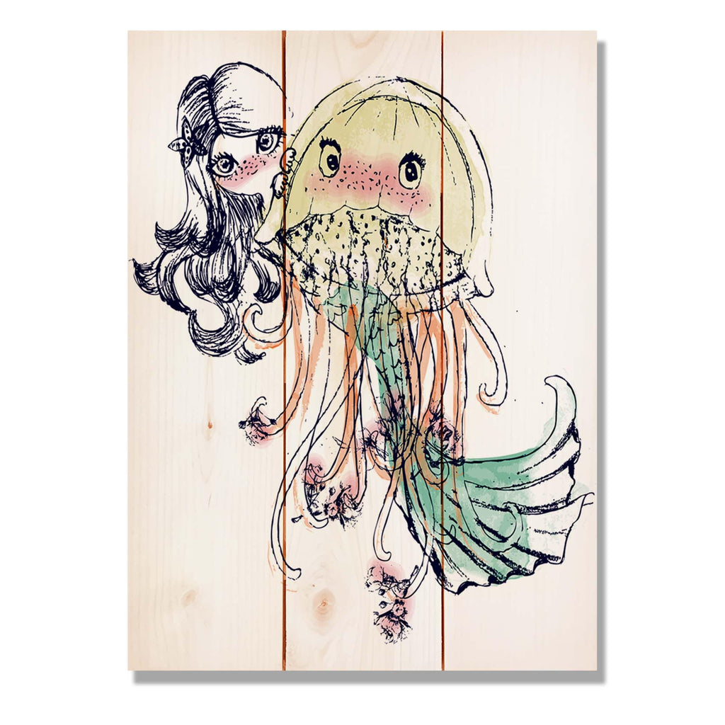 "Mermaid Girls - Classic Pine Wood Art Art DaydreamHQ Pine Wall Art 11""x15"""