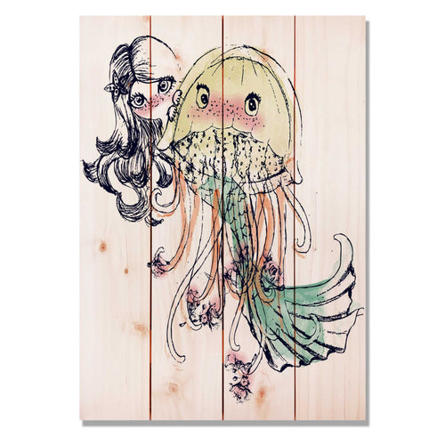 "Mermaid Girls - Classic Pine Wood Art Art DaydreamHQ Pine Wall Art 14""x20"""