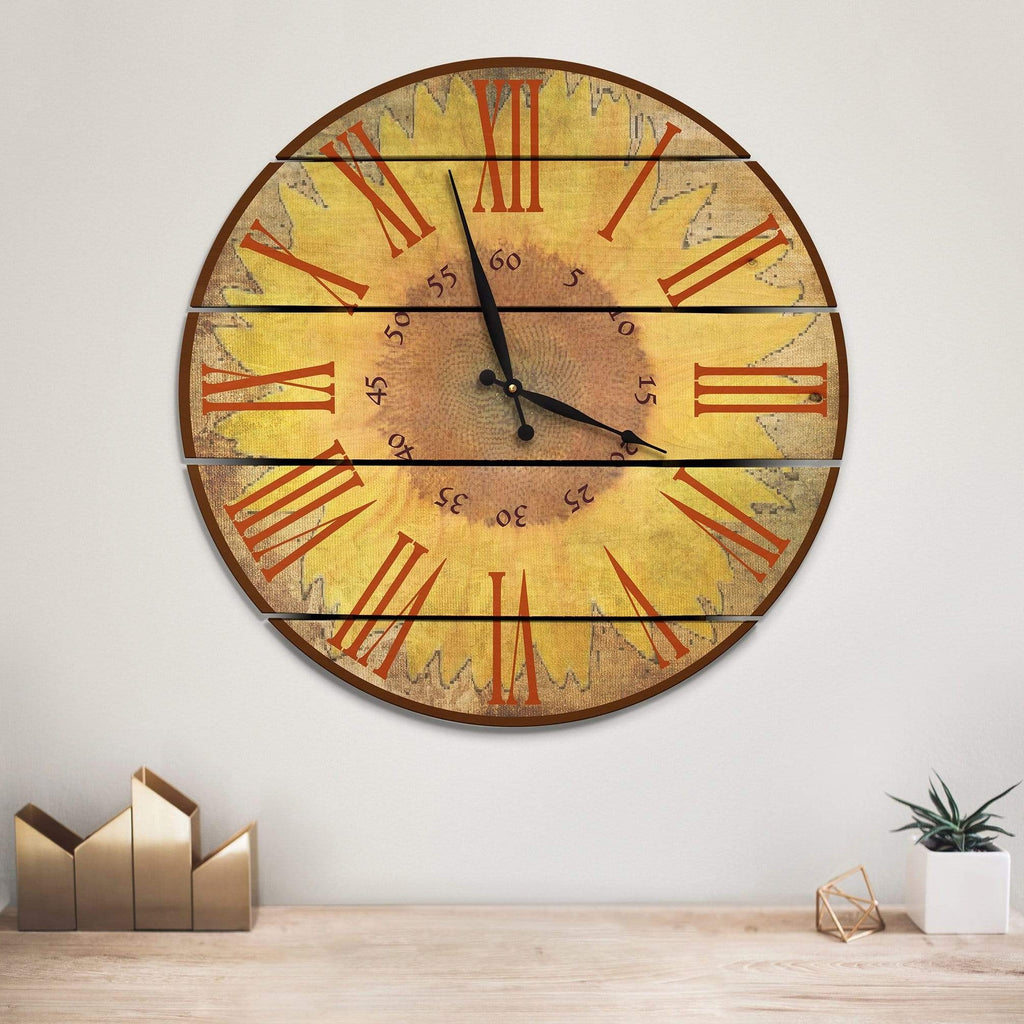Warm Sunflower Wood Wall Clock - Indoor & Outdoor Decor DaydreamHQ FenceEscape 24""