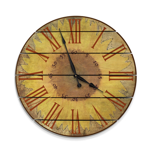 Warm Sunflower Wood Wall Clock - Indoor & Outdoor Decor DaydreamHQ FenceEscape 30""