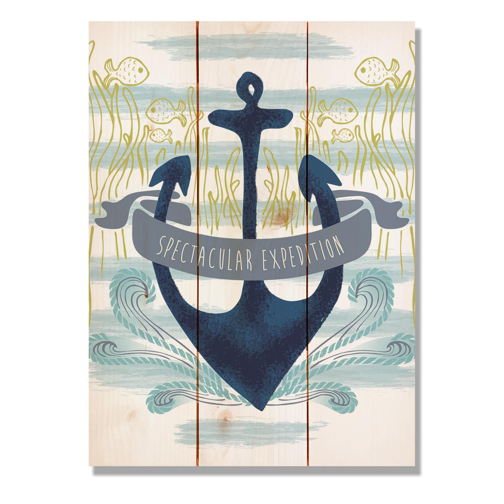 "Expedition Anchor - Classic Pine Wood Art Art DaydreamHQ Pine Wall Art 11""x15"""
