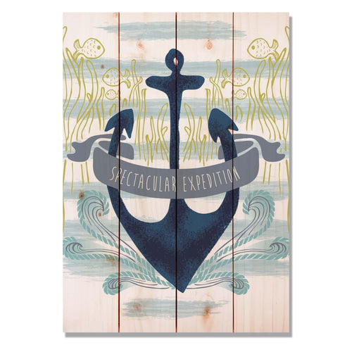 "Expedition Anchor - Classic Pine Wood Art Art DaydreamHQ Pine Wall Art 14""x20"""