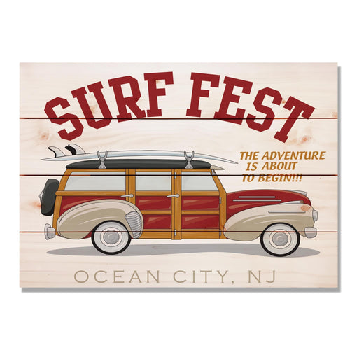 "Surf Fest - Classic Pine Wood Art DaydreamHQ Pine Wall Art 20""x14"""
