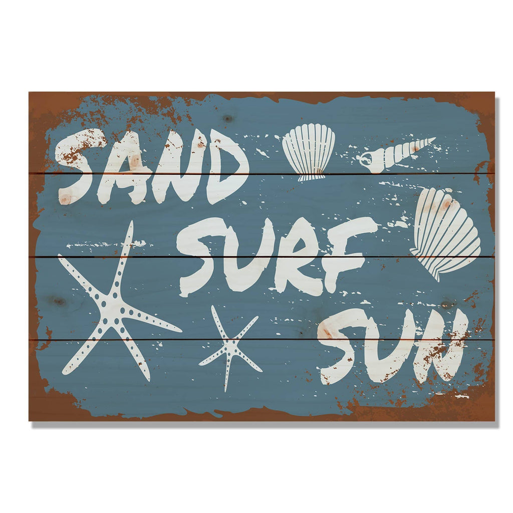 Sand, Surf, Sun - Classic Pine Wood Art DaydreamHQ Pine Wall Art