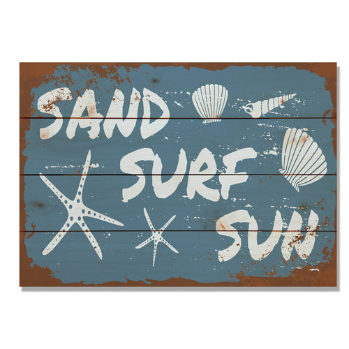 "Sand, Surf, Sun - Classic Pine Wood Art DaydreamHQ Pine Wall Art 20""x14"""