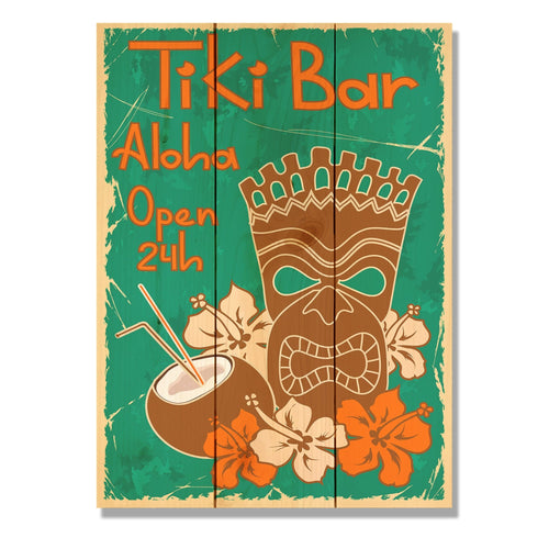 "Tiki Bar - Classic Pine Wood Art DaydreamHQ Pine Wall Art 11""x15"""