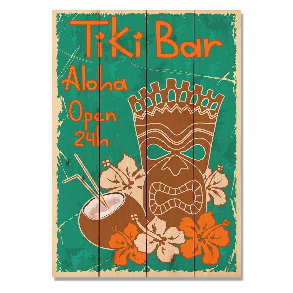 Tiki Bar - Classic Pine Wood Art DaydreamHQ Pine Wall Art