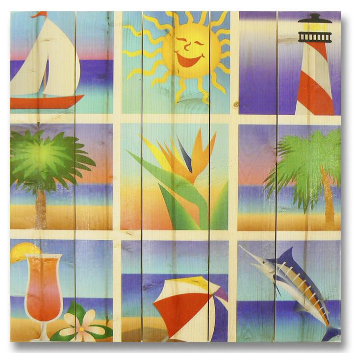 Summer Squares 17x17 - Classic Pine Wood Art Outside by Mike FenceEscape Summer Days 17x17