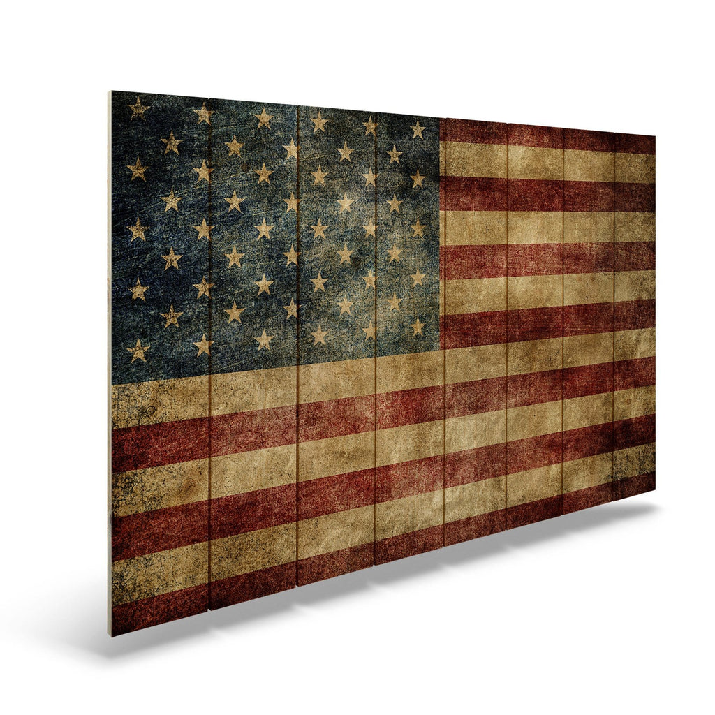 "Rustic American Flag on Wood - Indoor & Outdoor Wall Decor DaydreamHQ FenceEscape 44""x30"""