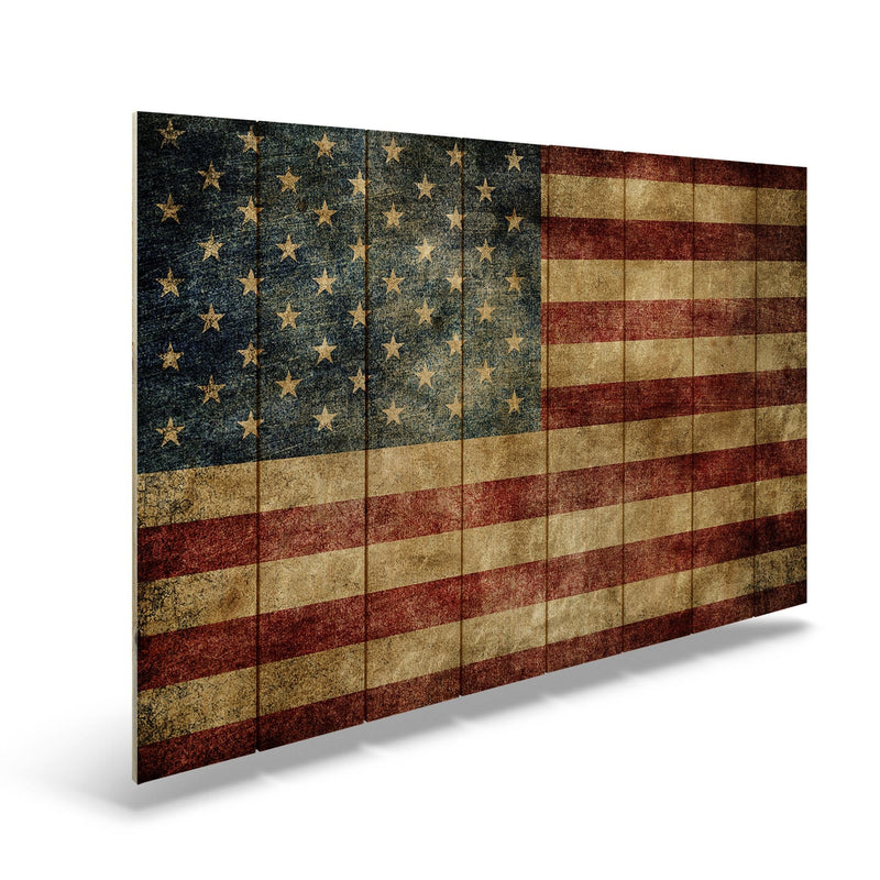 Rustic American Flag on Wood - Indoor & Outdoor Wall Art Outside by Mike FenceEscape 44x30