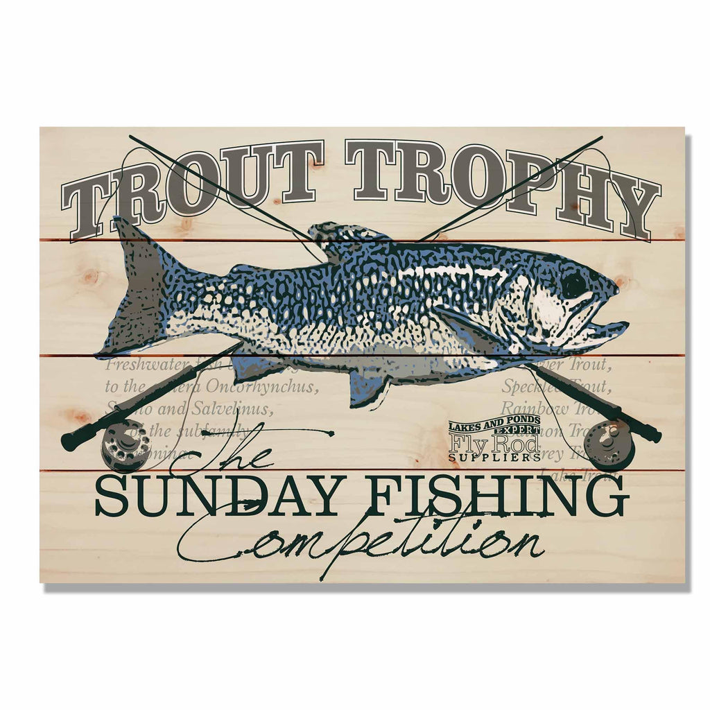 "Trout Fly Fishing - Outdoorsman Wood Wall Art DaydreamHQ 20""x14"""