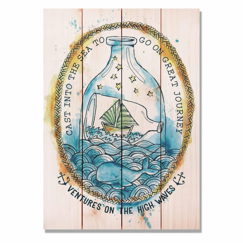 "Ventures High Waves - Classic Pine Wood Art Art DaydreamHQ Pine Wall Art 14""x20"""