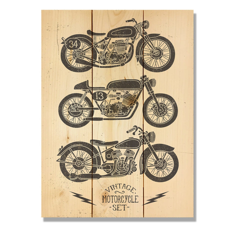 "Vintage Motorcycle - Classic Pine Wood Art DaydreamHQ Pine Wall Art 11""x15"""