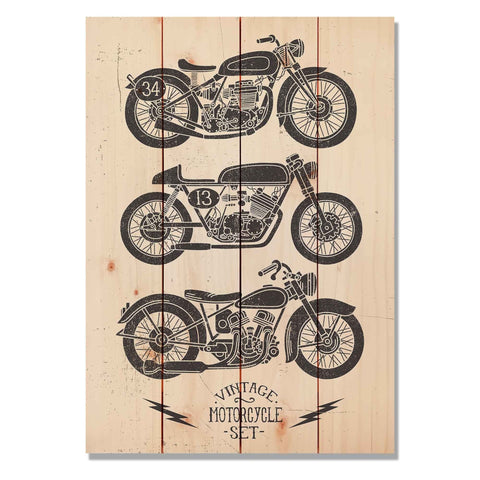Vintage Motorcycle - Classic Pine Wood Art
