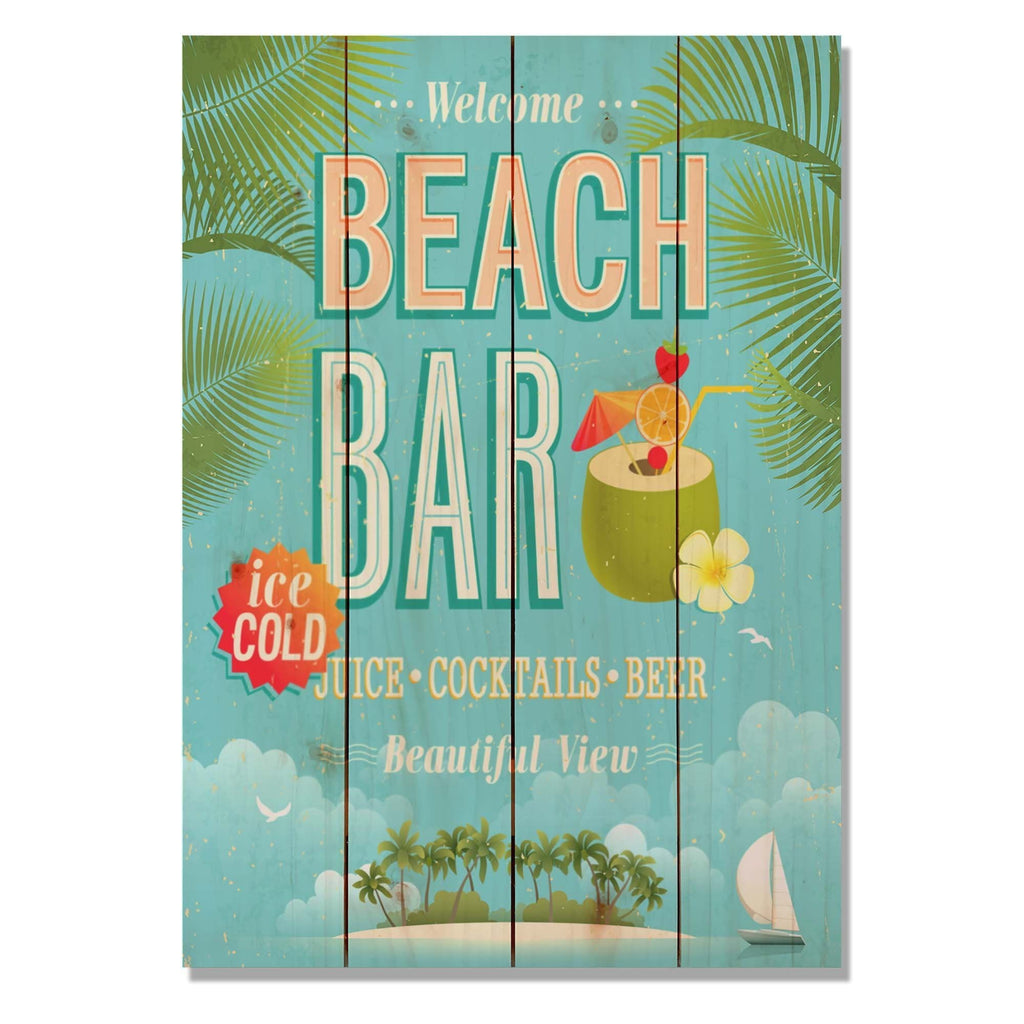 "Beach Bar - Classic Pine Wood Art DaydreamHQ Pine Wall Art 14""x20"""