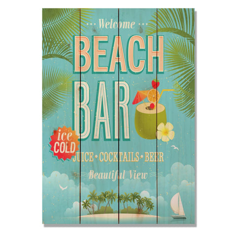 Beach Bar - Classic Pine Wood Art