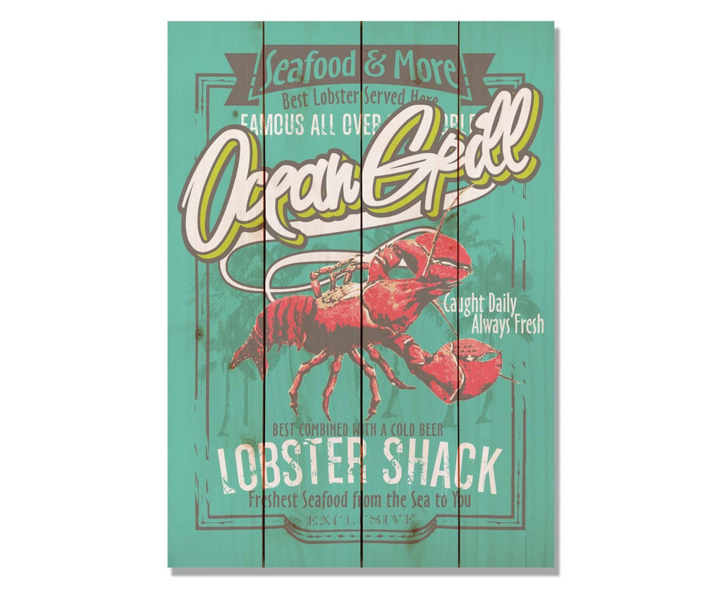 Ocean Lobster Shack Art Print on Wood Pallet / Coastal Home Decor / Seafood Restaurant Wood Print (WOLS) DaydreamHQ