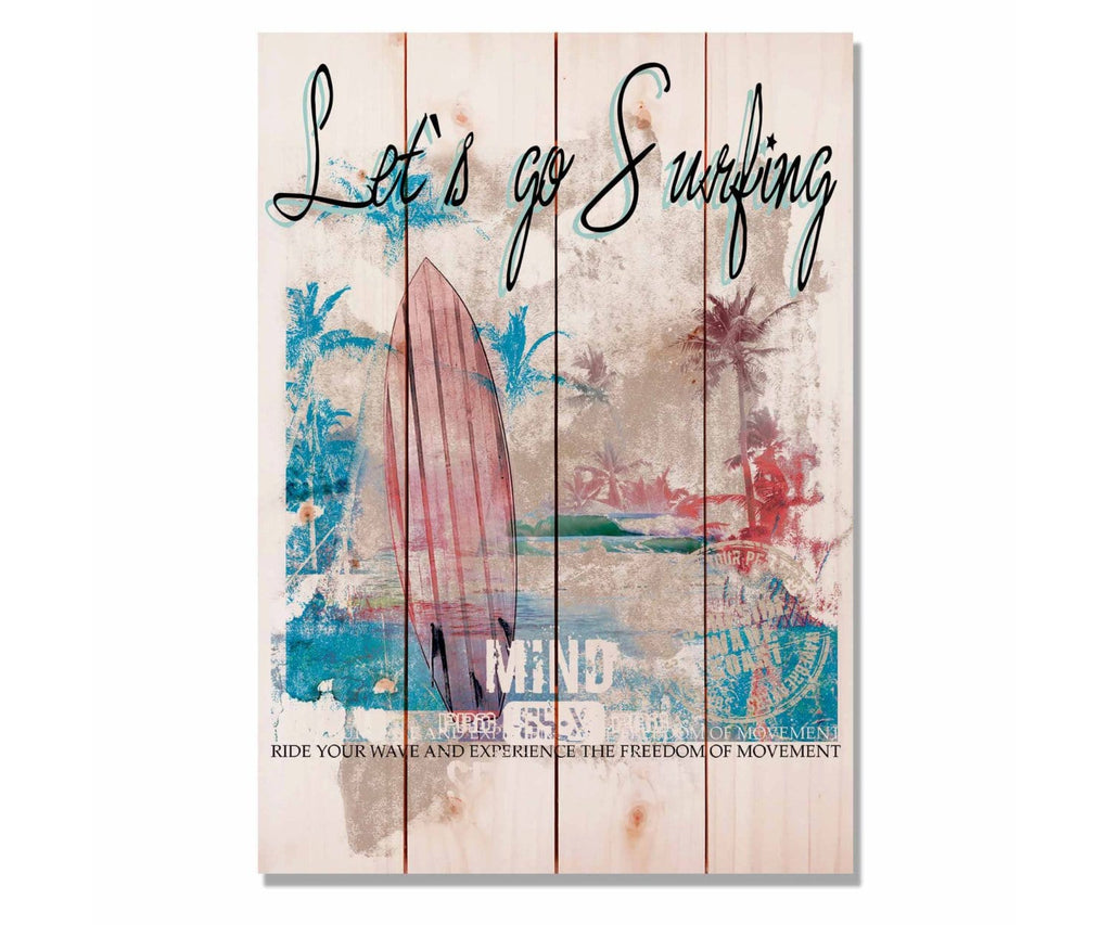 "Let's Go Surfing - Beach Wood Wall Art DaydreamHQ 14""x20"""