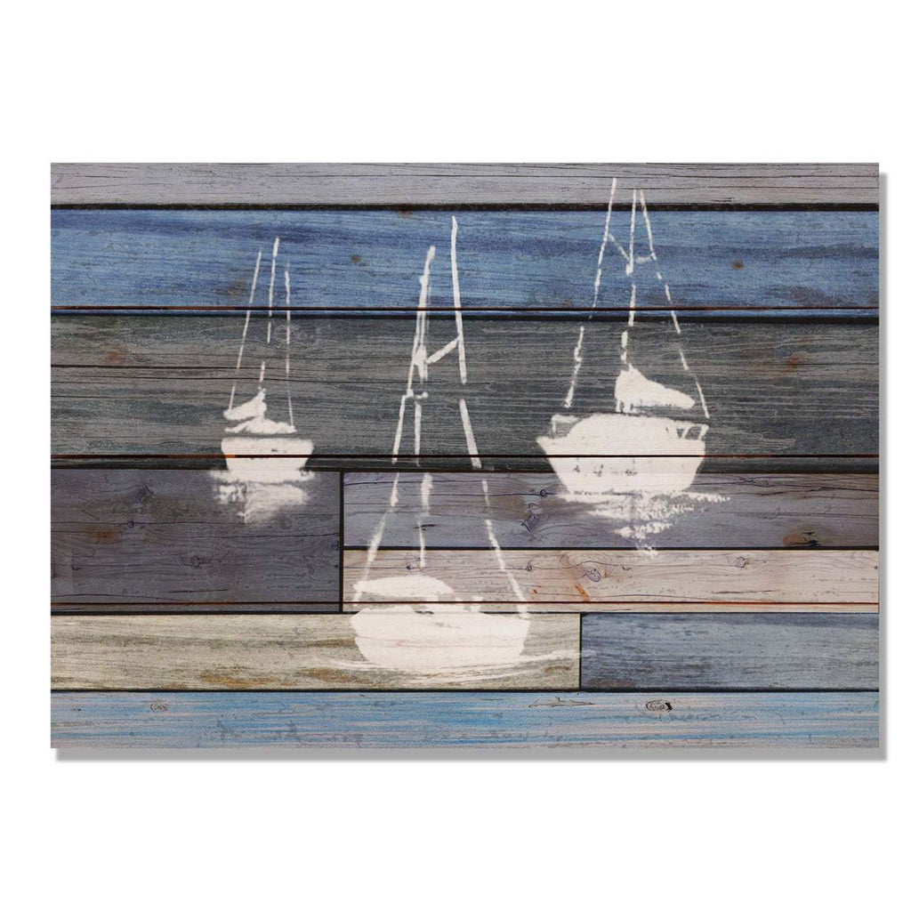 Blue Sailboats - Nautical Wood Wall Decor DaydreamHQ 20x14