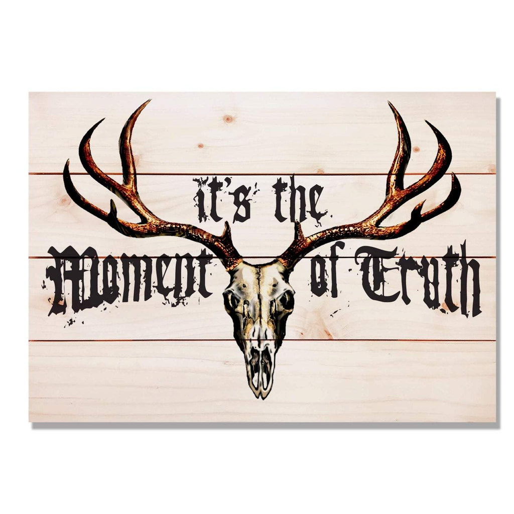 Moment of Truth - Antler & Skull Wood Wall Decor DaydreamHQ 20x14