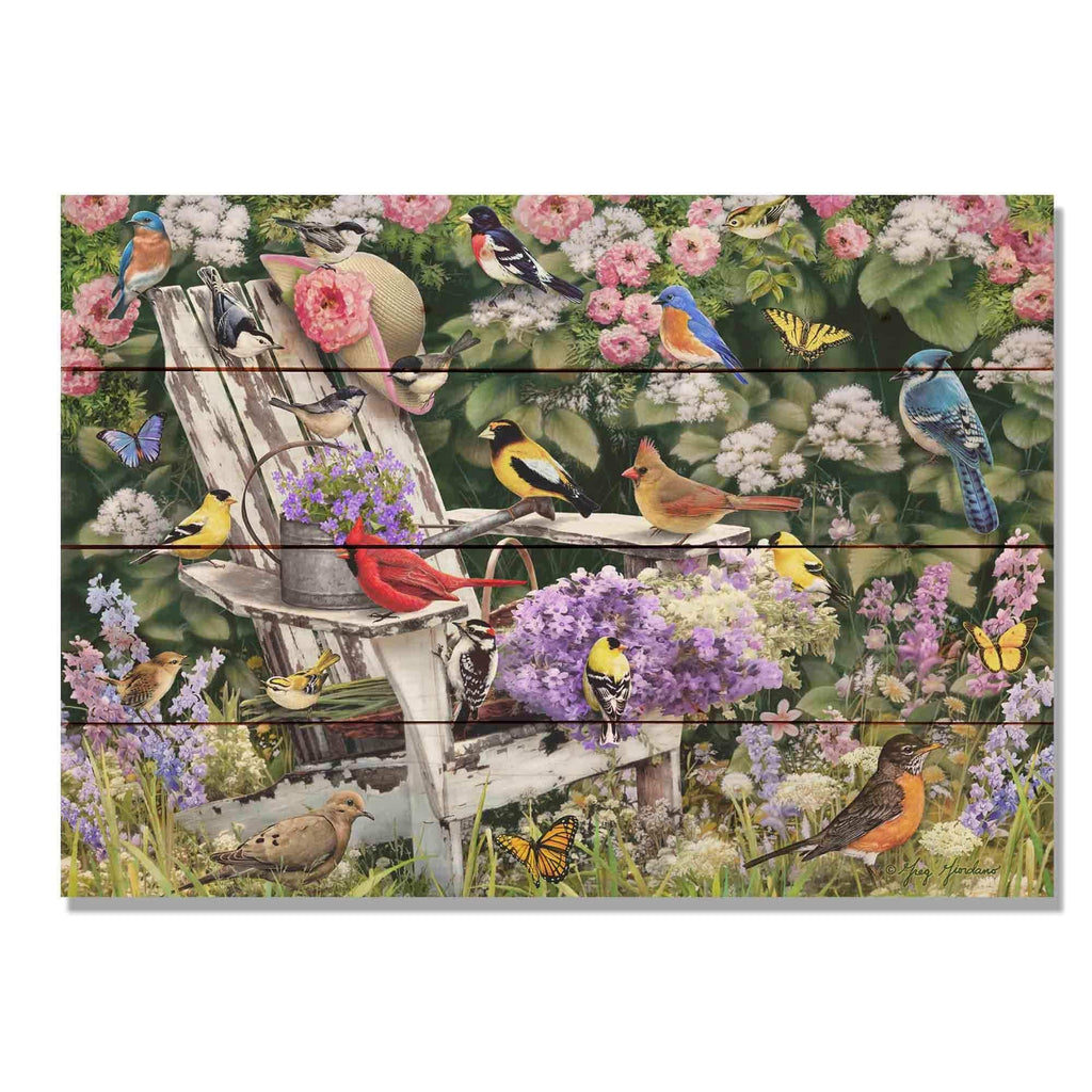 Birds on Spring Chair by Giordano - Bird Wood Wall Art DaydreamHQ 20x14
