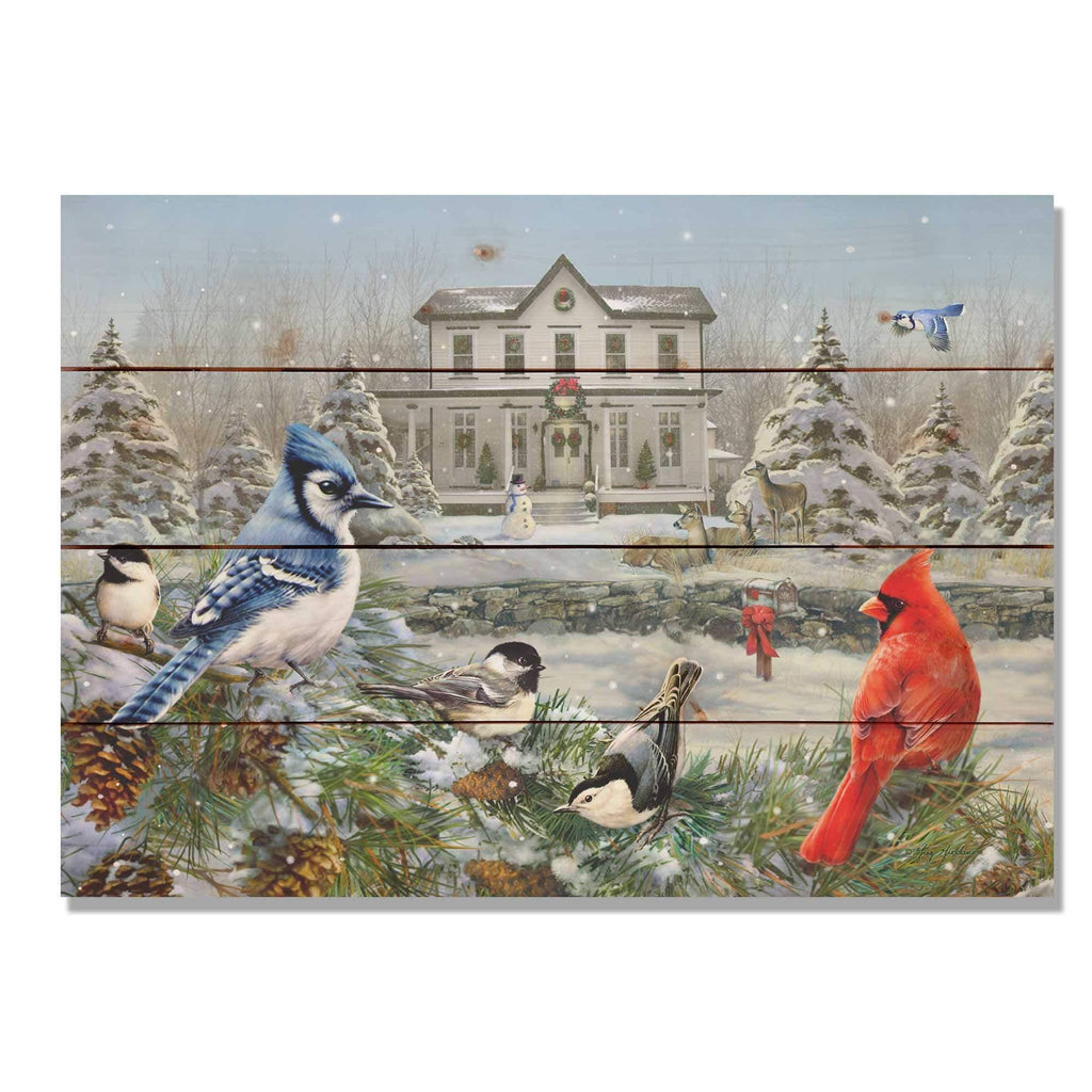 "Winter Birds by Giordano - Wood Wall Art DaydreamHQ 20""x14"""