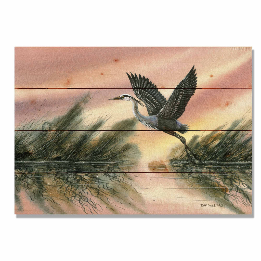 Heron / Art Print On Wood / Wood Wall Art / Pallet Wall Art / Home Decor / Heron Print / Heron Painting / Bird Watercolor / Bird Print Gift DaydreamHQ