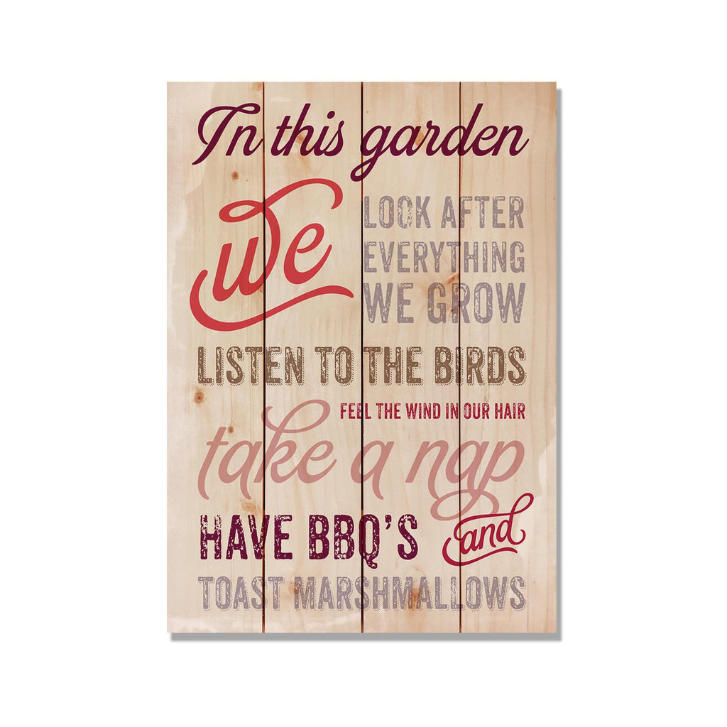 In This Garden - Kitchen & Garden Wood Wall Art DaydreamHQ 14x20